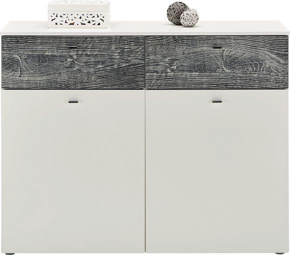 KOMMODE Weiß Hochglanz/Eiche - Chromfarben/Eichefarben, MODERN, Holzwerkstoff/Kunststoff (120,1/94,5/41,5cm) - MÖMAX modern living