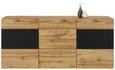 Sideboard in Eichefarben - Eichefarben/Schwarz, MODERN, Glas/Holzwerkstoff (180/82/43cm) - Modern Living