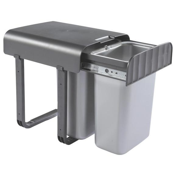 Abfallsammler ALADIN - Dunkelgrau/Silberfarben, Basics, Kunststoff (29/36/33cm)