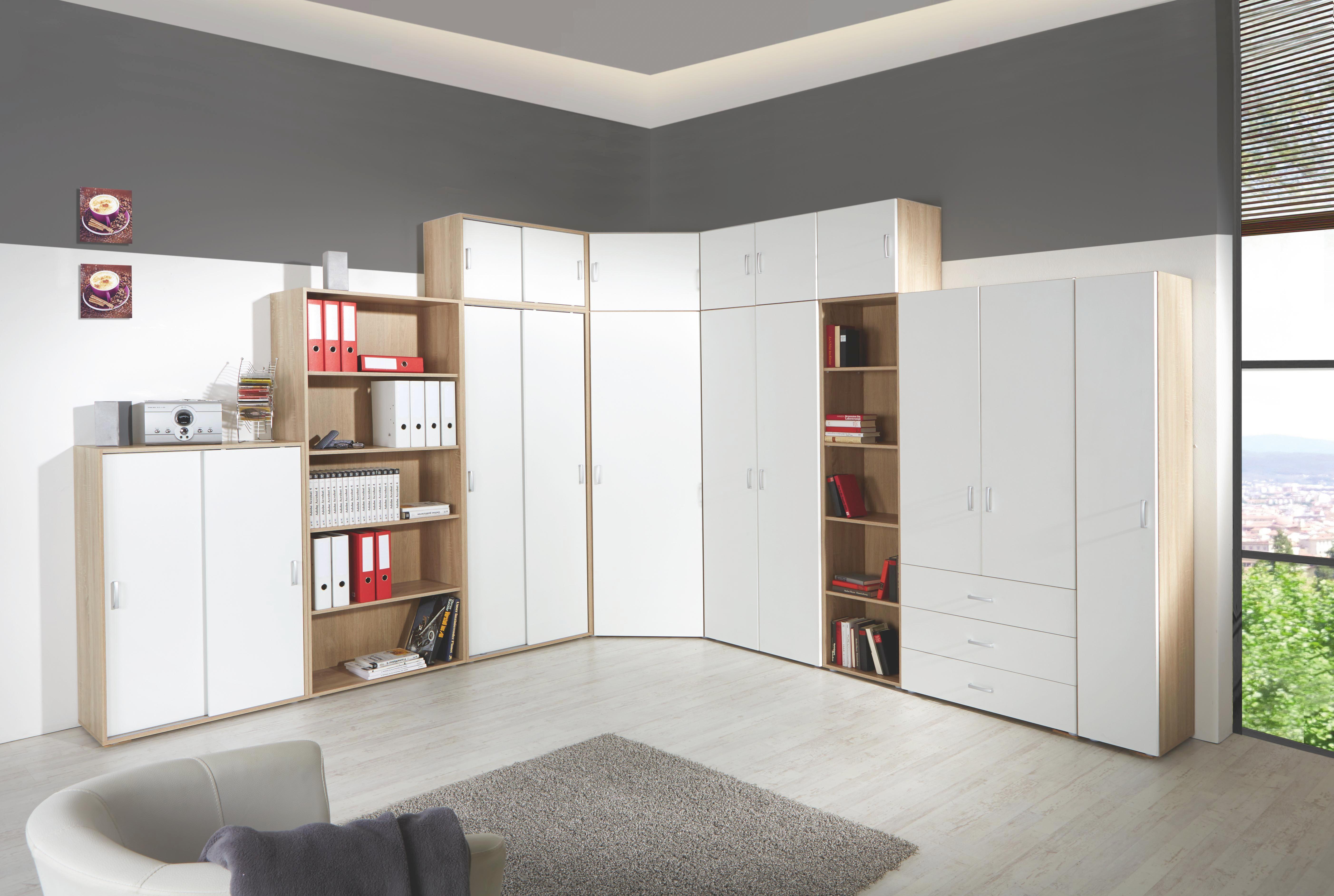 Szekrény Tio - tölgy színű/fehér, konvencionális, faanyagok (80/183/37,5cm)