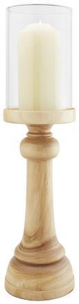 Kerzenhalter Rufus inkl. Glas H ca. 62,5 cm - Naturfarben, ROMANTIK / LANDHAUS, Glas/Holz (17/62,5cm) - Premium Living