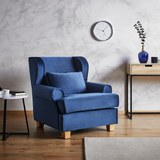 Sessel in Blau 'Matteo' - Blau, MODERN, Holz/Textil (86/86/90cm) - Bessagi Home