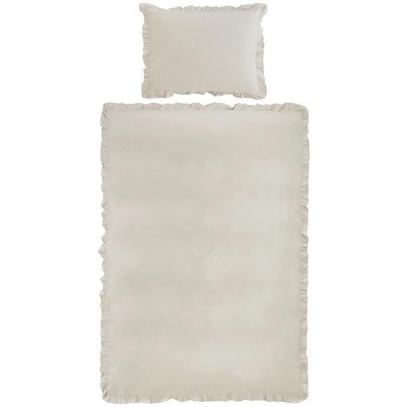 Bettwäsche Rüschen Sand 135x200cm - Sandfarben, ROMANTIK / LANDHAUS, Textil - Zandiara