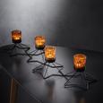 Teelichthalter Yannik inkl. Gläser ca. 63/12,8cm - Bernsteinfarben/Schwarz, MODERN, Glas/Metall (63/19/12,8cm) - Mömax modern living