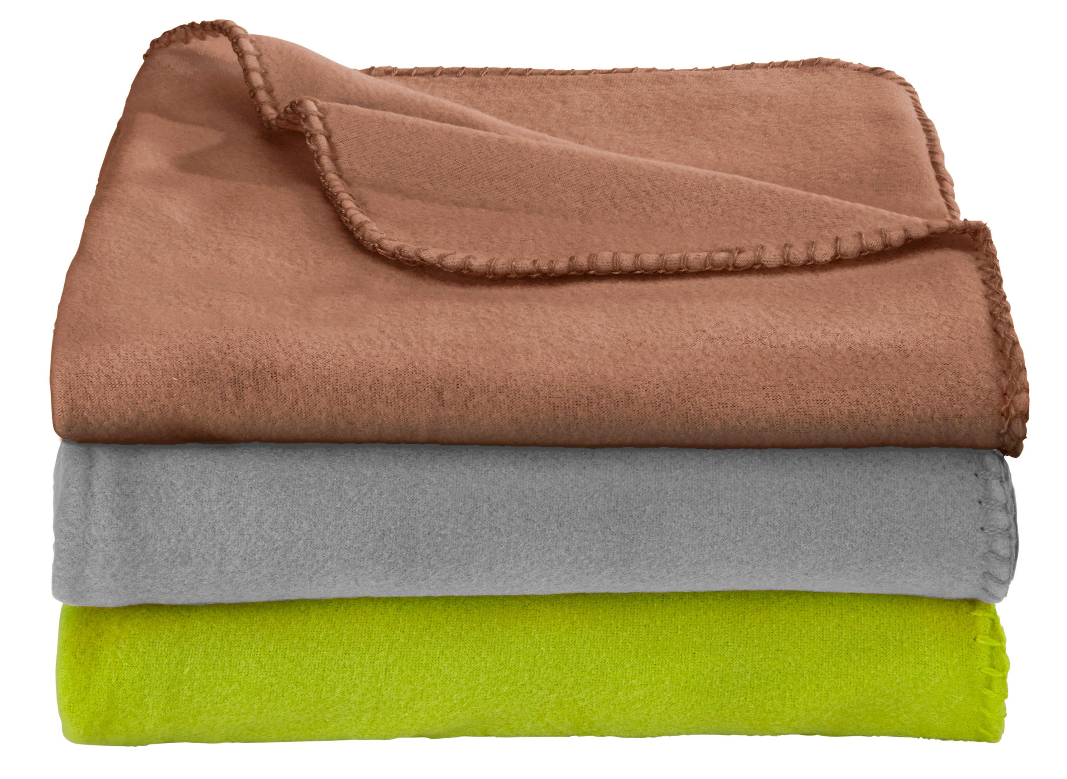 Fleecedecke Trixi in Braun/grau/grün - Braun/Grau, Textil (130/160cm) - BASED