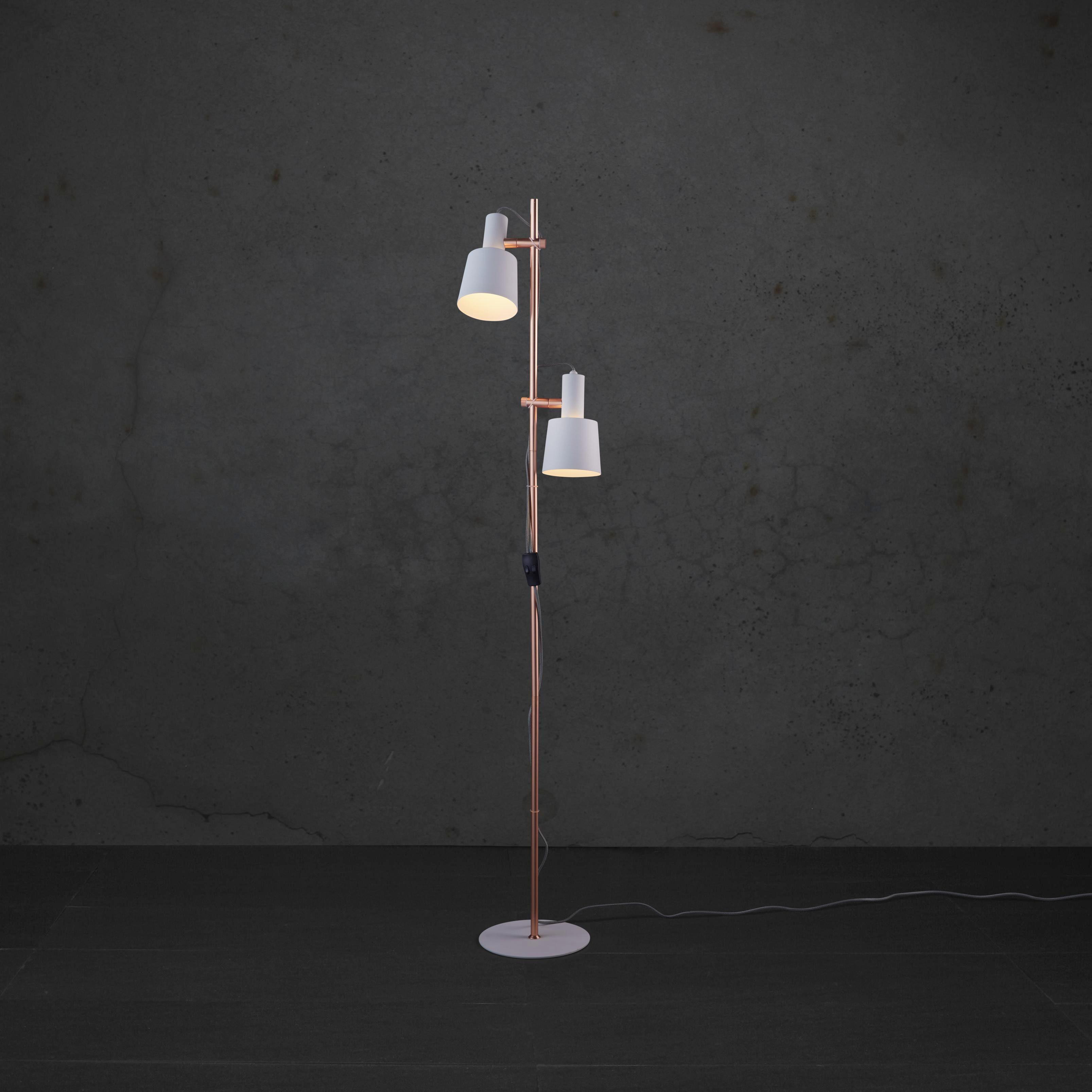 Stehleuchte Klara - Weiß/Kupferfarben, MODERN, Metall (30/23/152cm) - MODERN LIVING