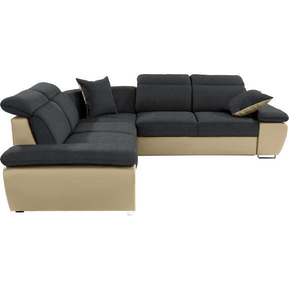 Sedežna Garnitura Logan - temno siva/bež, Konvencionalno, kovina/tekstil (270/270cm) - Premium Living
