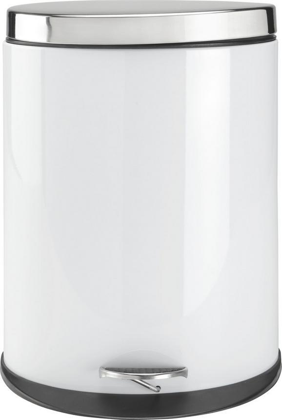 Treteimer Carmen in Weiß ca. 20l - Edelstahlfarben/Schwarz, MODERN, Kunststoff/Metall (34/43,7/25cm) - Mömax modern living