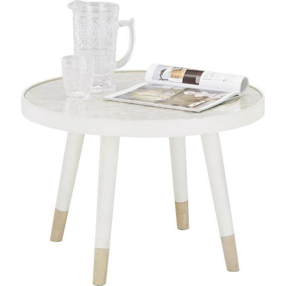 Beistelltisch aus Tanne teilmassiv - Naturfarben/Weiß, Glas/Holz (61/41/61cm) - Mömax modern living