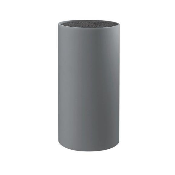 Messerblock Thorsten inkl. Borsteneinsatz - Grau, KONVENTIONELL, Kunststoff (11/22,5cm) - Mömax modern living