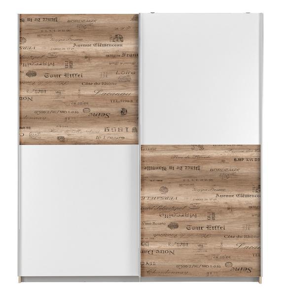 Schiebetürenschrank Weiß/Grau - Eichefarben/Alufarben, LIFESTYLE, Holzwerkstoff/Kunststoff (170/191/61cm) - Modern Living