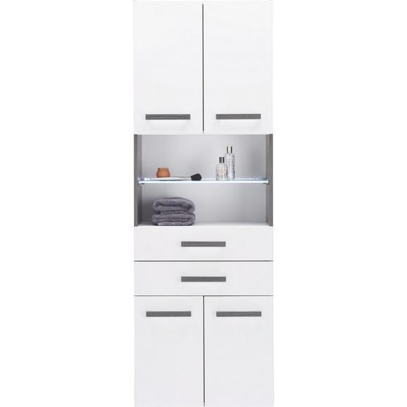 Hochschrank in Weiß/Anthrazit - Chromfarben/Mooreichefarben, MODERN, Glas/Holzwerkstoff (60/175,5/36cm) - Premium Living