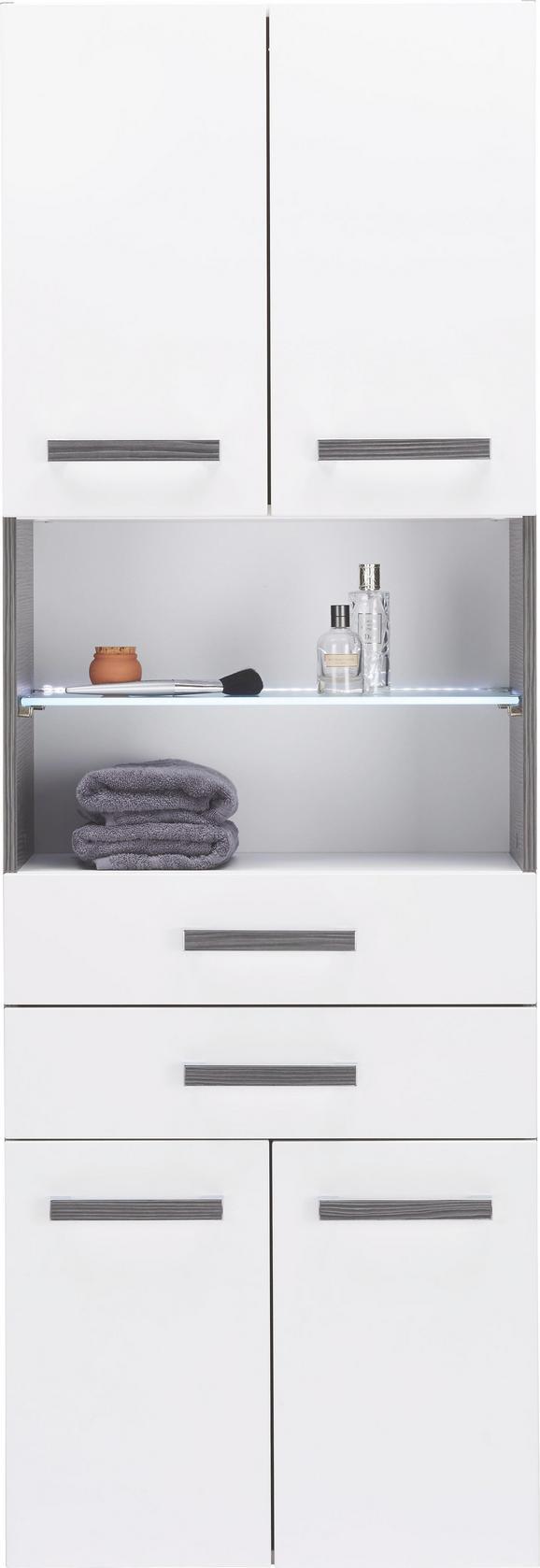 Hochschrank Weiß/Anthrazit - Chromfarben/Mooreichefarben, MODERN, Glas/Holzwerkstoff (60/175,5/36cm) - Premium Living