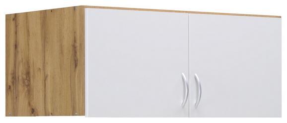 Aufsatzschrank Weiß/Eiche - Eichefarben/Alufarben, MODERN, Holzwerkstoff/Kunststoff (91/39/54cm) - Modern Living