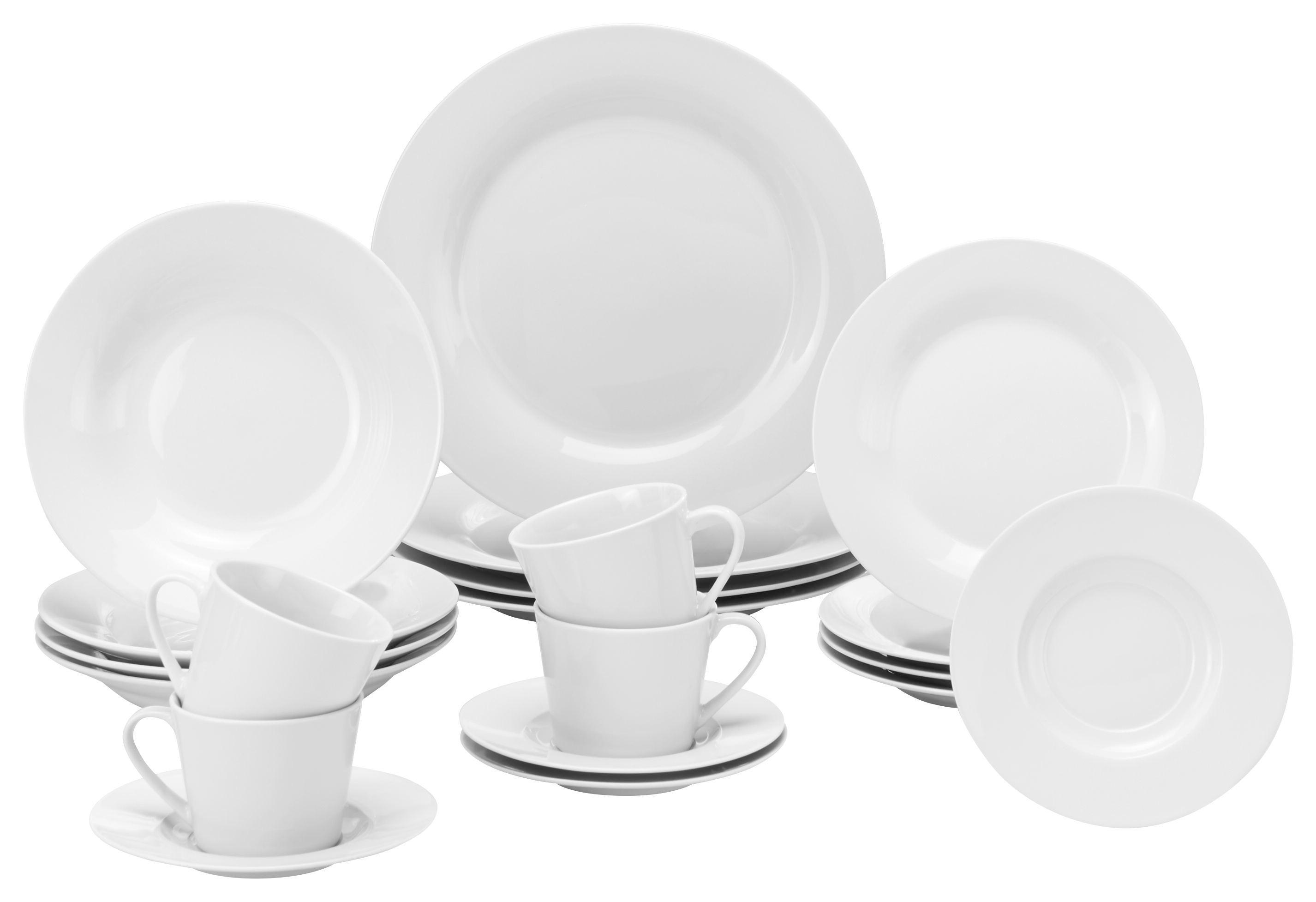 Kombiservice Lea in Weiß aus Porzellan - Weiß, KONVENTIONELL, Keramik - MÖMAX modern living