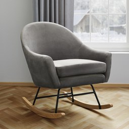 Schaukelstuhl in Grau 'Sophie' - Grau, MODERN, Holz/Textil (74/87/91,5cm) - Bessagi Home