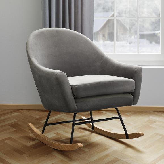 Schaukelstuhl Sophie - Grau, MODERN, Holz/Textil (74/87/91,5cm) - Bessagi Home