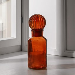 Vase in Orange Ø/H ca. 8/23 cm 'Milla' - Orange, MODERN, Glas (8/23cm) - Bessagi Home