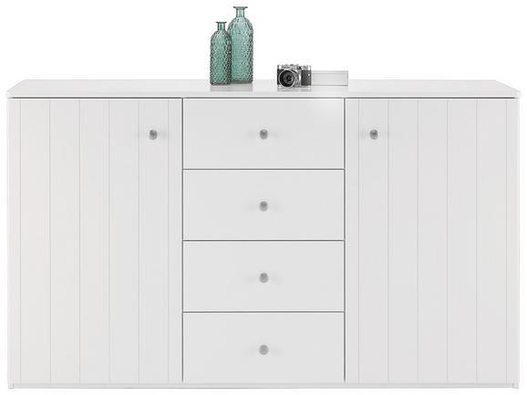 Sideboard Weiß Lack - Silberfarben/Weiß, ROMANTIK / LANDHAUS, Holzwerkstoff/Metall (160/92/40cm) - Zandiara