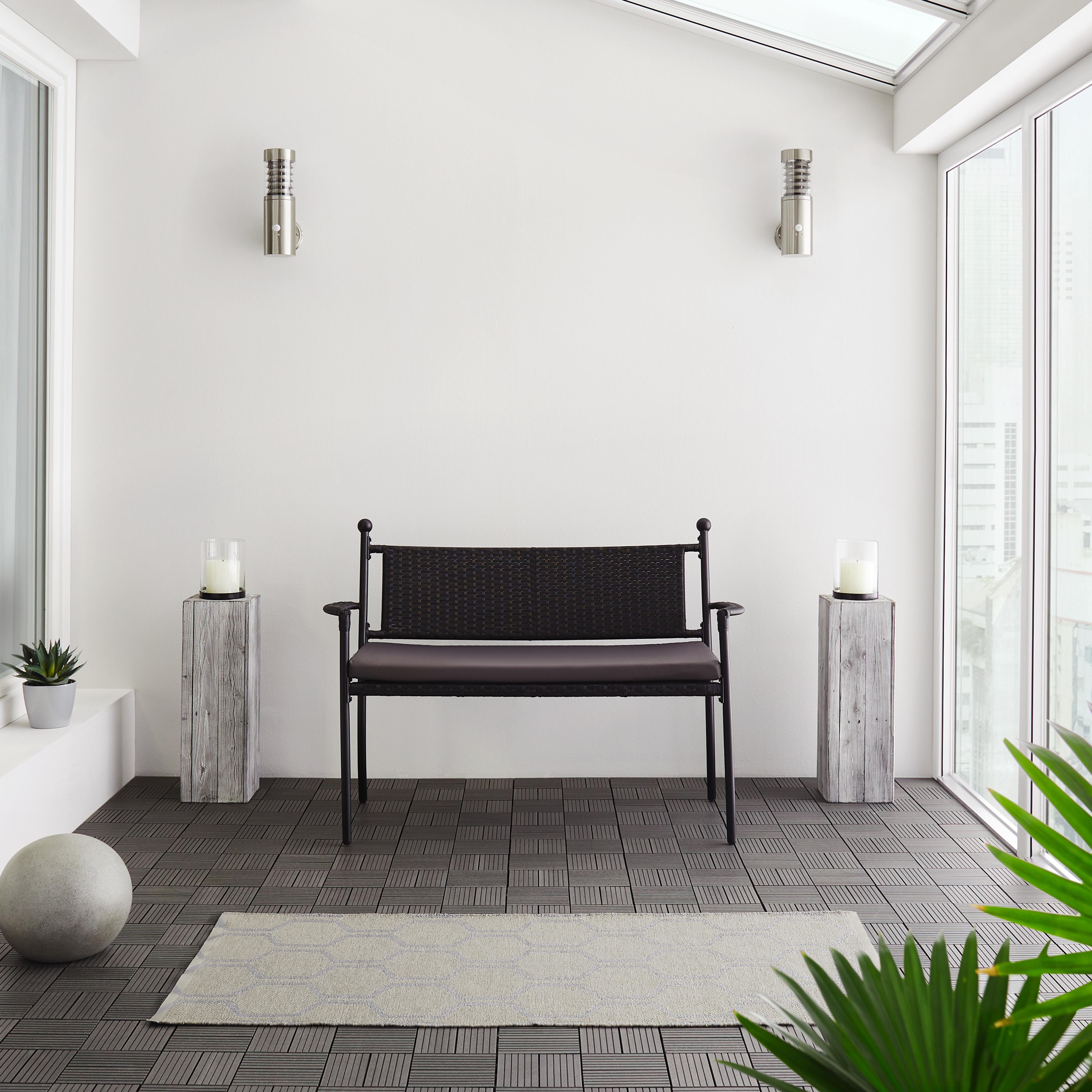 Gartenbank Eva inkl. Auflage - Dunkelgrau/Schwarz, MODERN, Kunststoff/Textil (120/85/60cm) - Modern Living