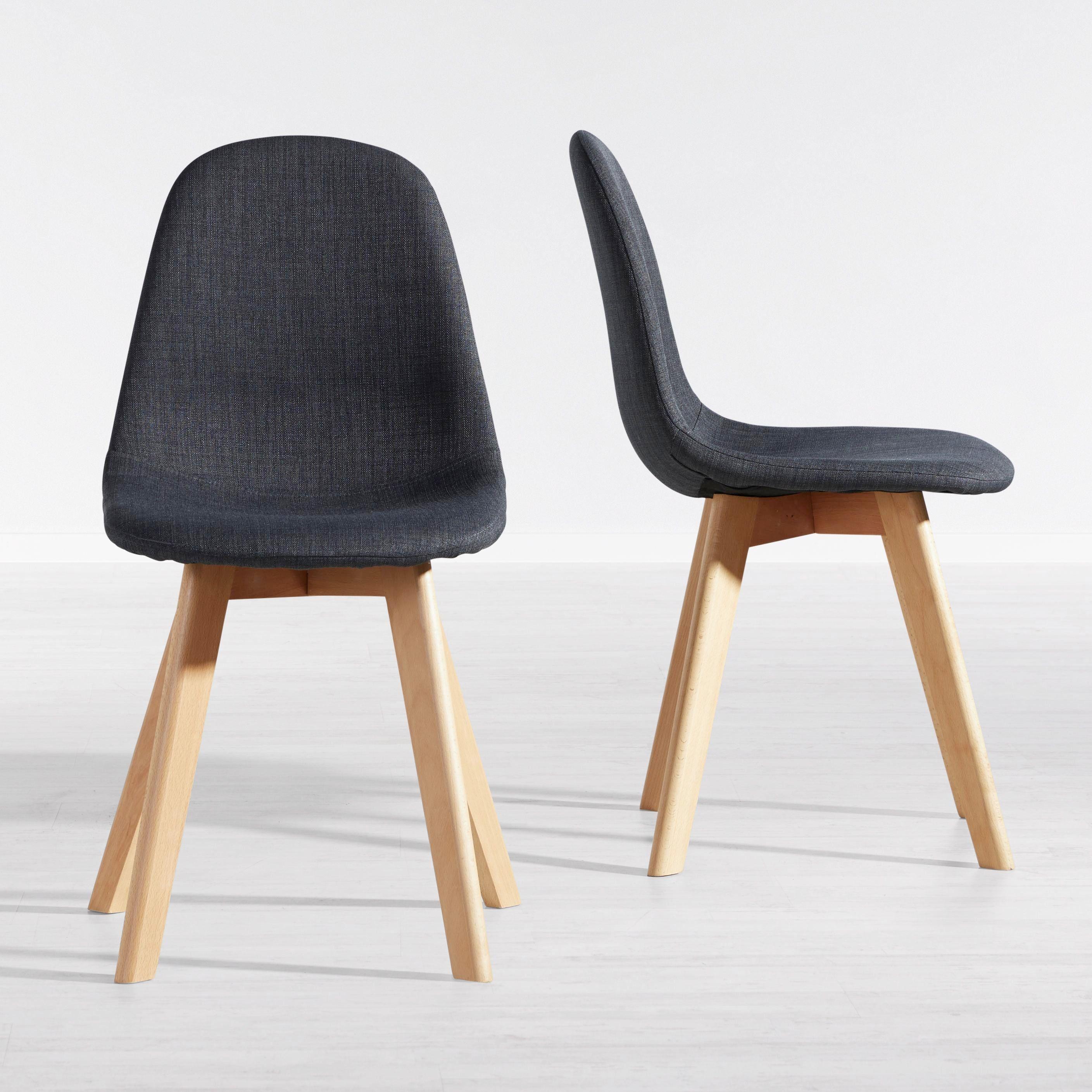 Stuhl Joelyna - Dunkelgrau/Buchefarben, MODERN, Holz/Textil (44/88/52cm) - Modern Living