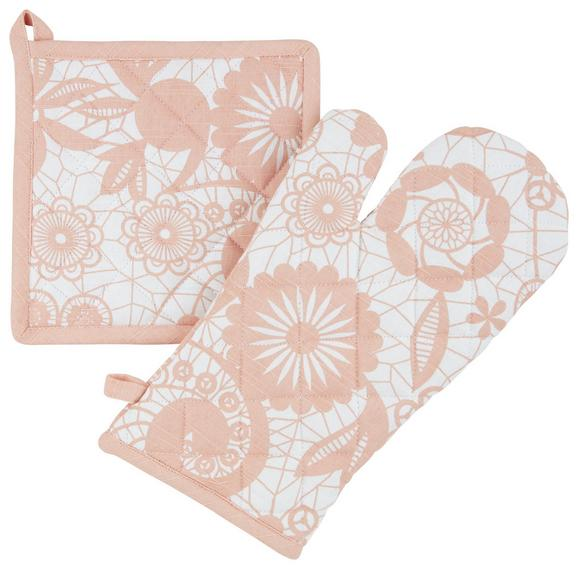 Topflappen und Handschuh Lovely Rosa/natur - Naturfarben/Rosa, ROMANTIK / LANDHAUS, Textil (18/32cm) - Mömax modern living