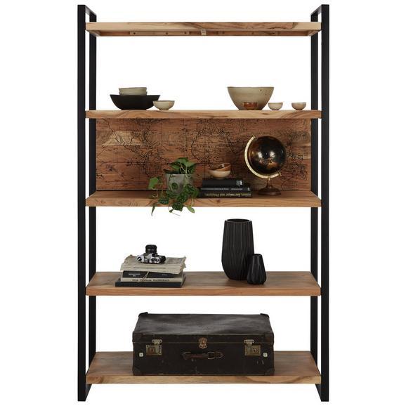 Regal aus Akazie Massiv - Schwarz/Naturfarben, MODERN, Holz/Metall (125/200cm) - Mömax modern living