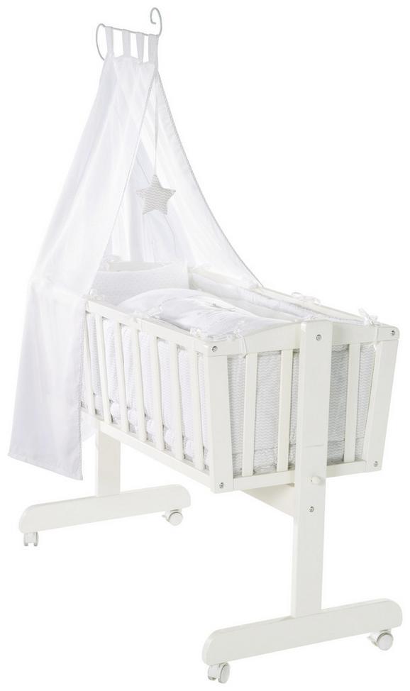 Wiegenset in Weiß, ca. 40x90cm - Weiß, Holz (53/150/94cm) - Modern Living