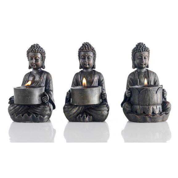 Teelichthalter Buddha Braun - Braun, LIFESTYLE, Kunststoff (9/14/9cm) - Mömax modern living