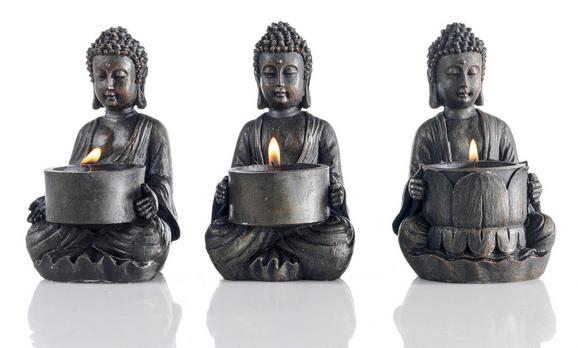 Teelichthalter Buddha in Braun Aus Kunstharz - Braun, LIFESTYLE, Kunststoff (9/14/9cm) - AMBIA HOME