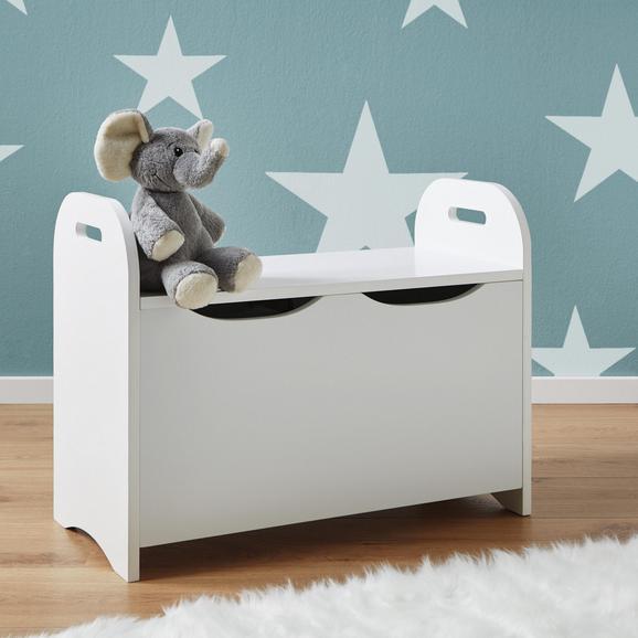 Kindersitzbank in Weiß mit Stauraum 'Lara' - Weiß, MODERN, Holz (60/30/47cm) - Bessagi Kids