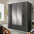 Drehtürenschrank in Graphitfarben - Graphitfarben, KONVENTIONELL, Holzwerkstoff/Kunststoff (180/199/58cm) - Modern Living