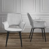 Stuhl Valentine - Hellgrau/Schwarz, MODERN, Holz/Textil (66/92/47cm) - Mömax modern living