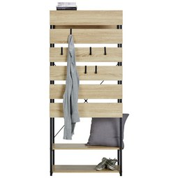 Garderobe in Sanoma Eiche - Schwarz/Sonoma Eiche, MODERN, Holzwerkstoff/Metall (75/175/38cm) - Modern Living