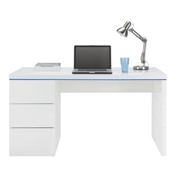Schreibtisch in Weiß Hochglanz - Weiß, MODERN, Holzwerkstoff (140/75/60cm) - Based