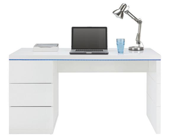 Schreibtisch Weiß Hochglanz - Weiß, MODERN, Holzwerkstoff (140/75/60cm) - Based