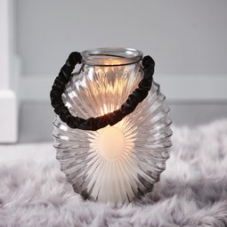 Windlicht in Hellgrau Ø/H ca. 18,8/23,8 cm 'Elea' - Hellgrau, MODERN, Glas (18,8/23,8cm) - Bessagi Home