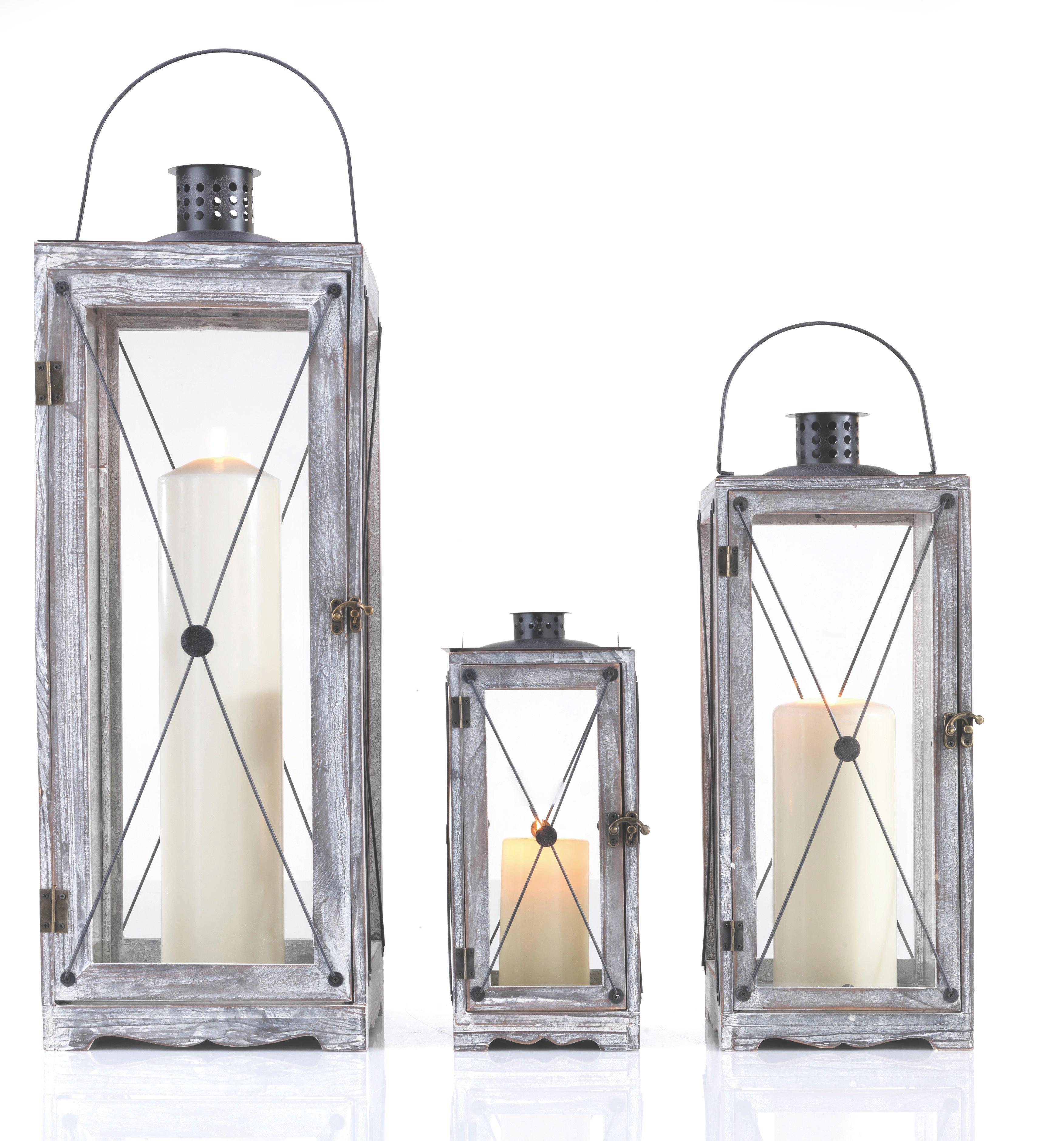 Lámpás Luna-l - barna/fekete, romantikus/Landhaus, üveg/fa (25/71/25cm) - MÖMAX modern living