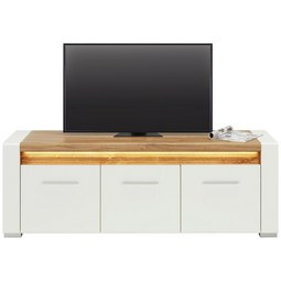 TV-Element in Weiß Hochglanz - Chromfarben/Eichefarben, MODERN, Holzwerkstoff/Kunststoff (160/56/45cm) - Modern Living