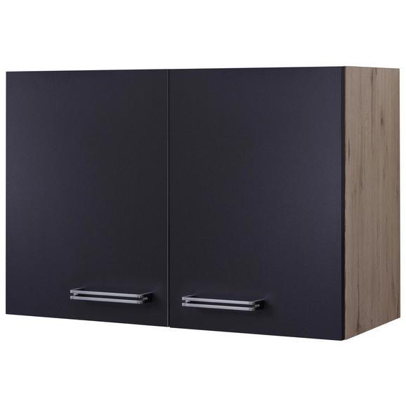 Küchenoberschrank Anthrazit/Eiche - Edelstahlfarben/Eichefarben, MODERN, Holzwerkstoff/Metall (80/54/32cm) - FlexWell.ai