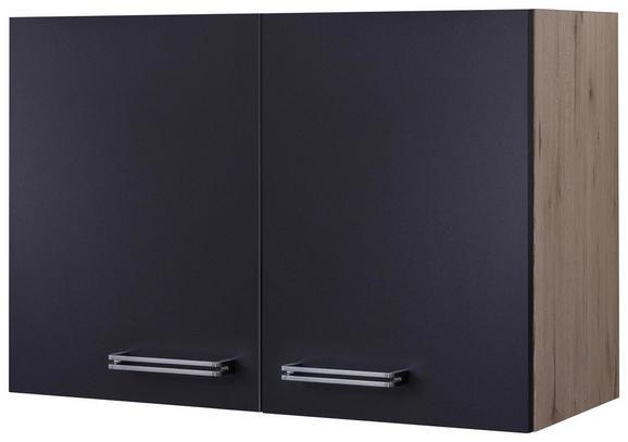 Küchenoberschrank Anthrazit/Eiche - Edelstahlfarben/Eichefarben, MODERN, Holzwerkstoff/Metall (80/54/32cm)