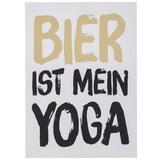 Postkarte Bier ist mein Yoga - Goldfarben/Schwarz, MODERN, Papier (10,5/14,8cm)