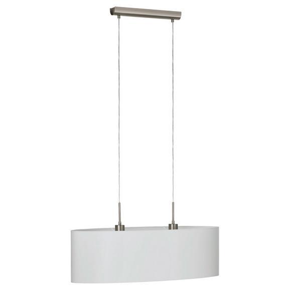 Hängeleuchte Pasteri max. 60 Watt - Weiß/Nickelfarben, MODERN, Textil/Metall (75/22/110cm)