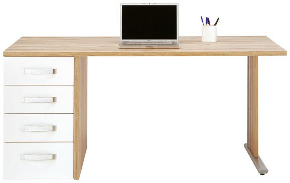 Schreibtisch Weiß/Eichefarben - Edelstahlfarben/Eichefarben, MODERN, Glas/Holzwerkstoff (160/73/80cm)