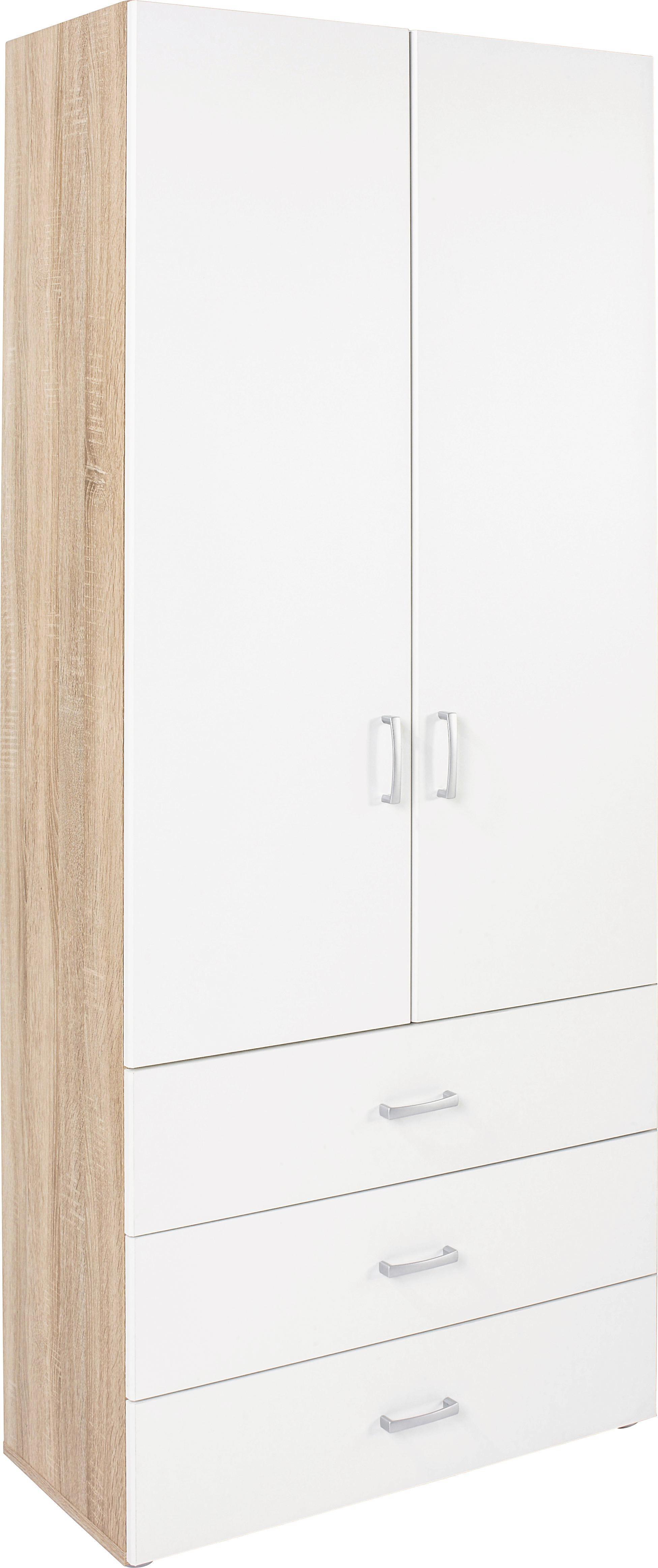 Szekrény Tio - tölgy színű/fehér, modern, faanyagok (80/183/37,5cm)