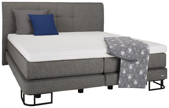 Boxspringbett Anthrazit ca.180x200cm - Anthrazit/Schwarz, KONVENTIONELL, Textil/Metall (180/200cm) - Premium Living