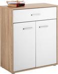 Kommode Weiß/Eichefarben - Chromfarben/Eichefarben, MODERN, Holzwerkstoff/Kunststoff (68/80/34cm) - Mömax modern living