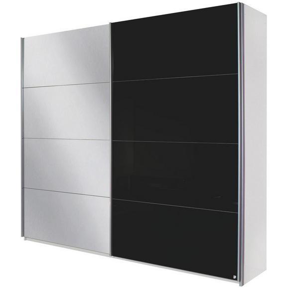 Schwebetürenschrank in Schwarz mit Spiegel - Alufarben, MODERN, Holzwerkstoff/Metall (226/229/61cm) - Modern Living