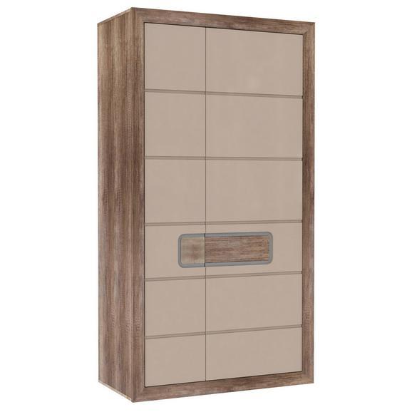 Dulap De Haine Tiziano - bej/culoare lemn stejar, Modern, plastic/sticlă (108,8/203,4/54,2cm)