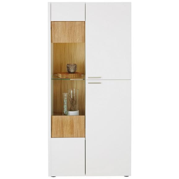 Vitrine aus Eiche massiv - Edelstahlfarben/Eichefarben, MODERN, Glas/Holz (73/165/40cm) - Premium Living